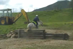 Lorna jumping up a step the same height as her pony!